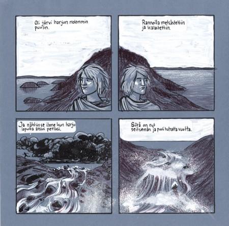 Tammerkoski ja kosken kaupunki -kirjassa (Tampereen museot 2011) mainitaan, että noin 7500 vuotta sitten eräänä keväänä tulva nosti Näsijärven pintaa ja kannas järvien välissä antoi periksi alimmalta kohdaltaan. Kirja heittää ilmaan ajatuksen, että ehkä joku silloinen tamperelainen on nähnyt Tammerkosken synnyn. Ainakin heiltä on jäänyt kivikirveitä ja keihäänkärkiä näille seuduille. Työvälineet: sävypaperi, muste, guassi, puuvärit. Kosken valkoiset roiskeet tehty hammasharjalla.