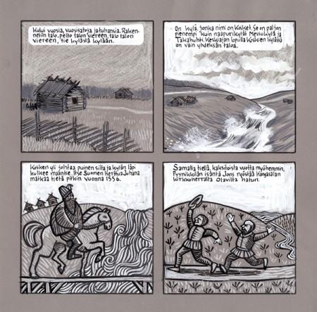 Vaihdan aikamuotoa kun siirrytään esihistoriallisesta ajasta historialliseen. Koskien kylä sijaitsi kosken länsilaidalla lähellä nykyistä keskustoria. Lähikylien talojen nimet näkyvät yhä kaupunginosien ja katujen nimissä: Erkkilä, Skyttälä (Kyttälä) Hatanpää, Pyynikkilä. Lähiseudun kyliä olivat mm. Messukylä, Takahuhti ja Hyhky, jotka yhä ovat olemassa. Maantie johtaa Hämeestä Satakuntaan ja Pohjanmaalle. Kosken kylän talot ylläpitivät siltaa. Ilmeisesti huonosti, sillä vuonna1556 määrättiin sakot sillan puutteista. Myös Jons sai sakot rikoksestaan. 40 markkaa, joka yleensä määrättiin vain pahimmista rikoksista. (Tammerkoski ja kosken kaupunki, Tampereen museot 2011) Kuvaan piirsin Pyynikkilän isännän juoksemaan koskelta länteen, eli Pyynikin suuntaan.
