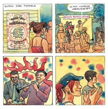 Keikalla Annikin sisäpihalla, viimeisillä Tähtimusiikkifestareilla Jahnukaiset, jossa klarinettia soittaa sarjakuvataiteilija Jukka Tilsa. Tässä ja tätä seuraavilla sivuilla kuvaan musiikkia levinneillä vesivärläikillä. Sarjakuvan harvoja puutteita on se, että musiikin kuvaaminen on melko haasteellista. Työvälineet: Muste & terä, vesiväri ja guassi.